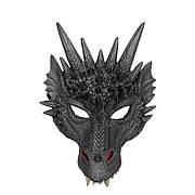 Чорна маска дракона. Маска дракон з поліуретанової піни. Маска Dragon чорного кольору