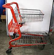 Б/У Платформенная тележка для магазина. Тележка торговая красная. Тележка грузовая красного цвета