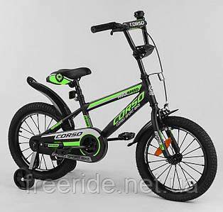 """Дитячий Велосипед CORSO 16"""" ST Aerodynamic з посиленими спицями чорно-зелений"""