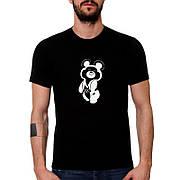 Мужская футболка с принтом Олимпийского медведя, размер XXXL. Черная хлопковая футболка Олимпийски медведь 3XL