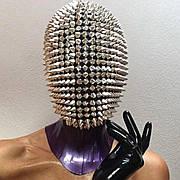 Шипованная маска. Маска с шипами. Маска в шипах. Чехол на голову с шипами. Маска ёжика. Маска с шипами из