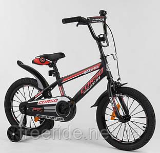 """Дитячий Велосипед CORSO 16"""" ST Aerodynamic з посиленими спицями чорно-червоний"""