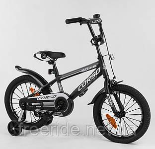 """Детский Велосипед CORSO 16"""" ST Aerodynamic с усиленными спицами черно-белый"""