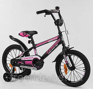 """Дитячий Велосипед CORSO 16"""" ST Aerodynamic з посиленими спицями чорно-рожевий"""