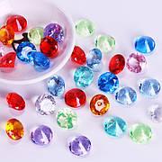 Акриловые бриллианты разноцветного цвета 50 шт./уп. Акриловые драгоценные камни разноцветные. Бриллианты из