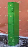 Б/У Ячеечный шкаф зеленый, без замков. Камера хранения для магазина на 4 ячейки 180х30х50 см. Ячейки для