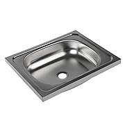 Мойка кухонная, накладная, без сифона, 50х40х11 см, нержавеющая сталь 0.4 мм есть вмятина