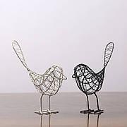 Фигурки птиц железные 3шт., черная, белая, золотая, 23x20 см. Плетенные птицы для декора из железа. Статуэтка