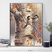 Набор для вышивки крестиком Зимние птицы 50х40 см, 14 ct. Набор для рукоделия Синички
