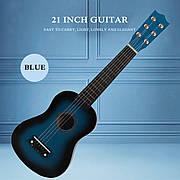Гиталеле синего цвета. Укулеле 6 струн. Мини гитара. Портативная гитара. Походная гитара