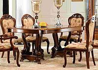 Стол обеденный, раскладной  ,на 2  изящных ножках-колонах ,коричневый с золотом , Коко-8695