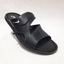Чоловічі шкіряні шльопанці-сланці Nike (репліка) Чорні