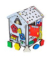 Бизикуб, бизидом: развивающий домик (Бизиборд) деревянный для детей с подсветкой 24х24х30