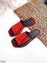Модные, кожаные женские шлепанцы NikArt, красные с черным