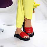 Шлепанцы женские красные с черным натуральная кожа, фото 7