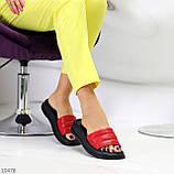 Шлепанцы женские красные с черным натуральная кожа, фото 3