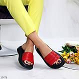 Шлепанцы женские красные с черным натуральная кожа, фото 5