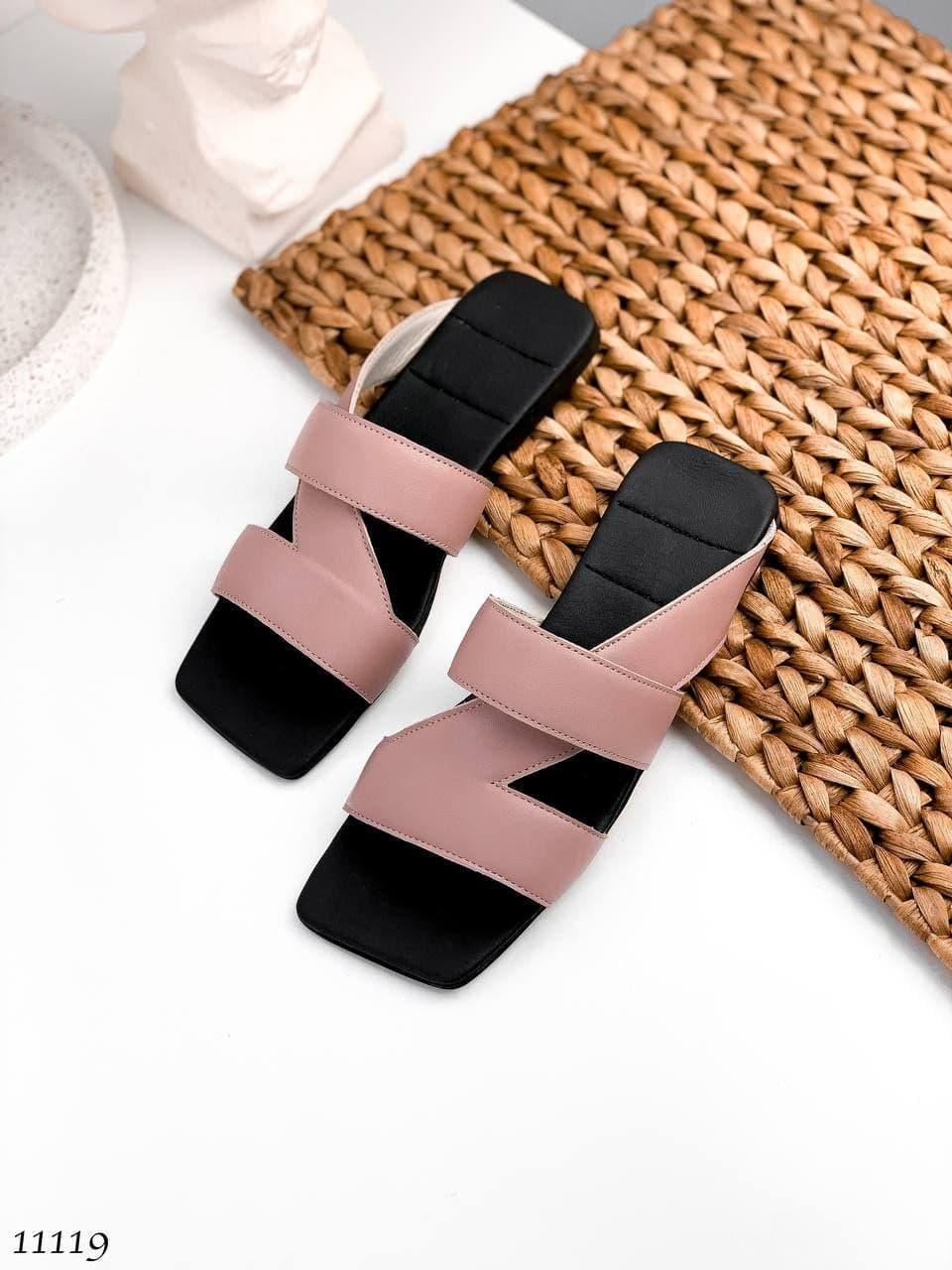 Модные, кожаные женские шлепанцы Tiffany, розовые (пудра)