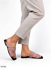 Модные, кожаные женские шлепанцы Tiffany, розовые (пудра), фото 3