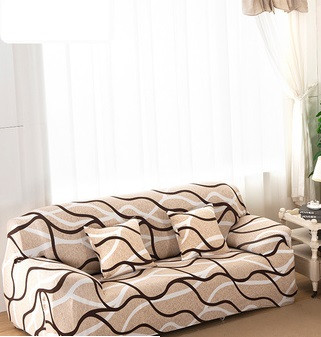 Чехлы на 3-х местные диваны натяжные на резинке, еврочехол бифлекс HomyTex с рисунком Волна бежевый