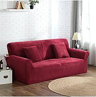 Чохол для невеликого дивану малютка, чохол на диванчик двомісний HomyTex Замша Мікрофібра Бордовий, фото 1