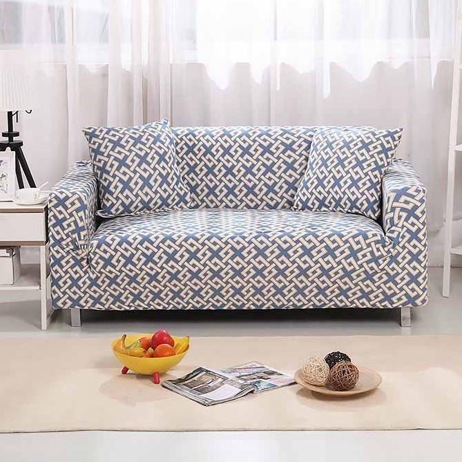 Натяжні універсальні чохли, накидки на диван і 2 крісла з малюнком Homytex Абстракція блакитна
