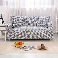 Натяжні універсальні чохли, накидки на диван і 2 крісла з малюнком Homytex Абстракція блакитна, фото 1