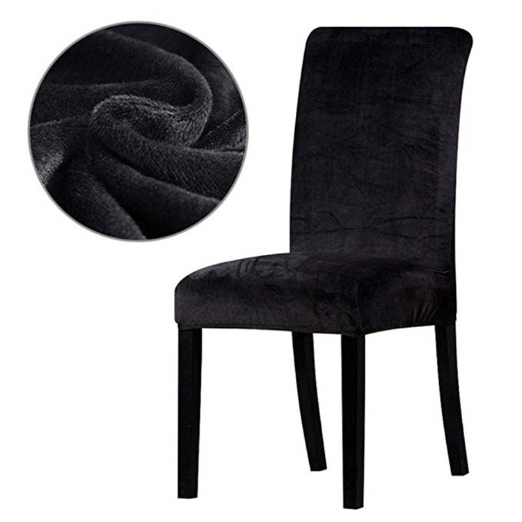 Чохли м'які на стільці зі спинкою натяжні, м'який чохол на стілець мікрофібра 6 штук Чорний