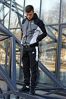 Спортивный костюм мужской Ветровка + Штаны Nike серо-черный | Комплект Найк весенний осенний ЛЮКС качества