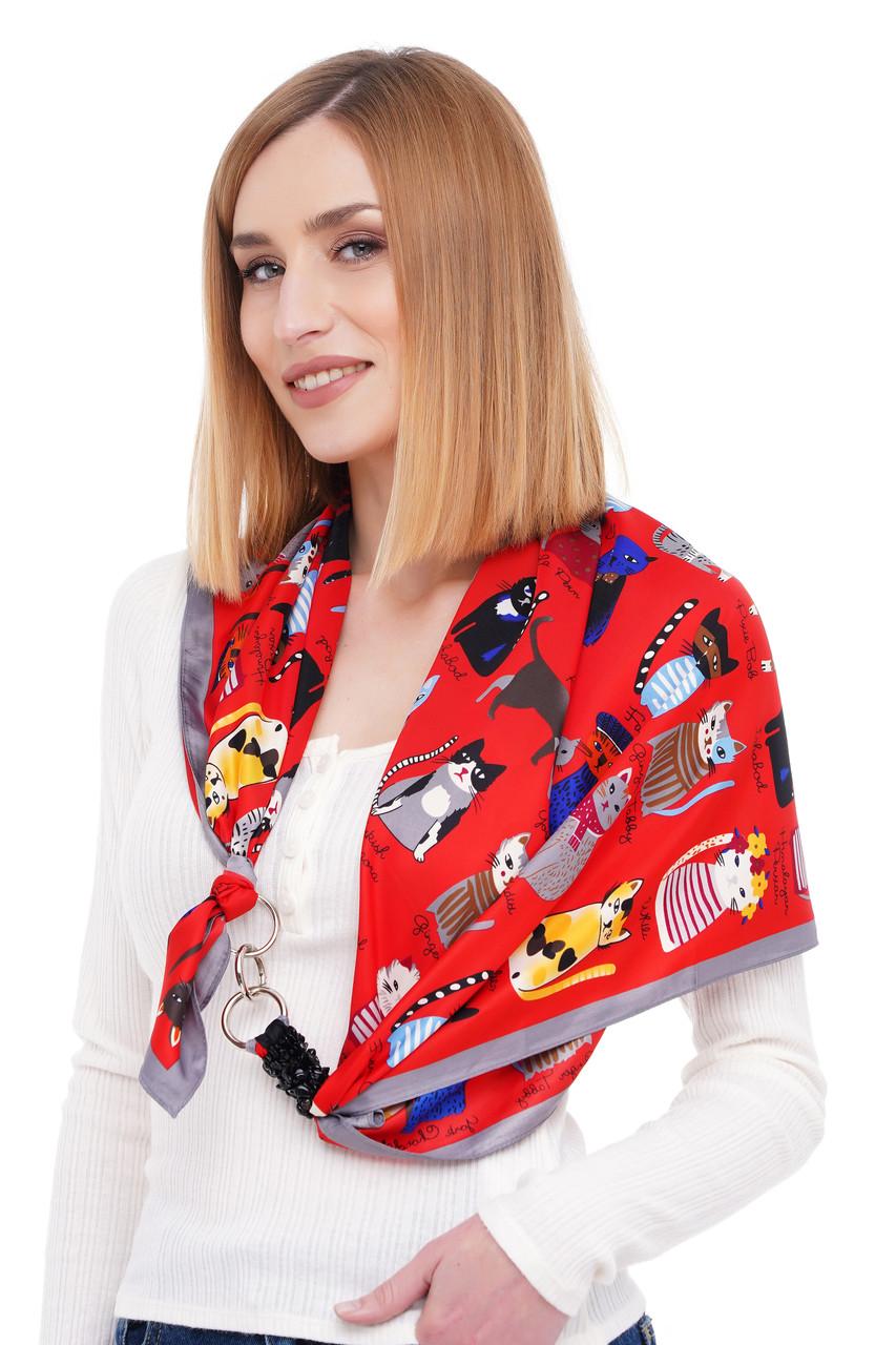 """Шелковый платок """"котики"""" от бренда my scarf, подарок женщине."""