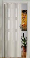 Двері-гармошка зі склом. Колір: Ясень білий №1 2030мм/860мм/10мм