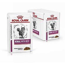 Лечебный влажный корм для кошек Royal Canin Renal With Beef Feline с говядиной блок 85 г*12 шт.