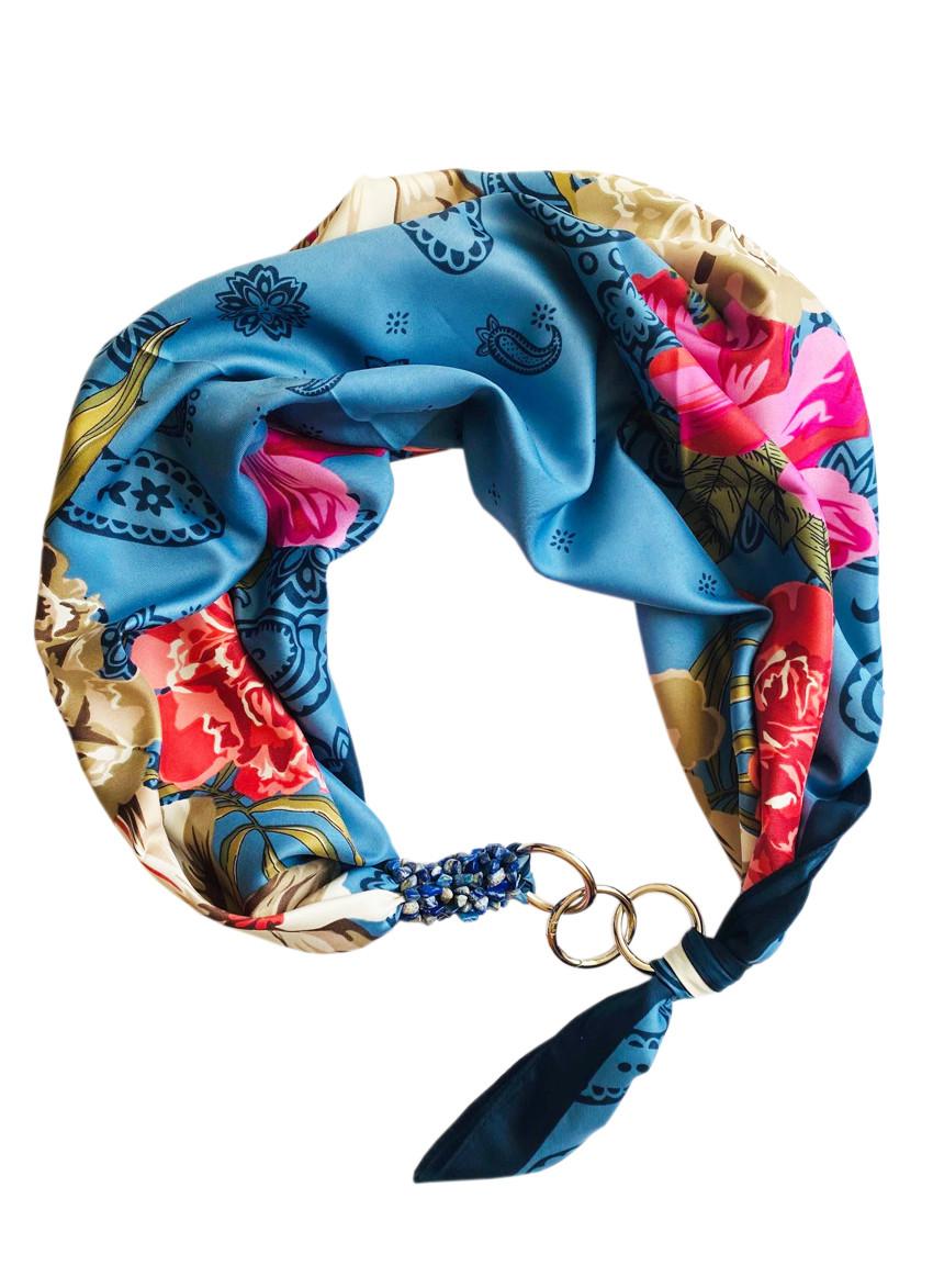"""Шелковый платок """"голубые грезы"""" от бренда my scarf, подарок женщине."""