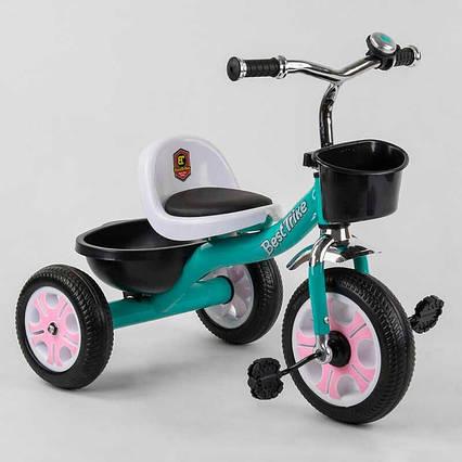 """Велосипед 3-х колёсный LM-7309 """"Best Trike"""" (1) БИРЮЗОВЫЙ, пено колесо, метал. рама, звоночек, 2 корзины,"""