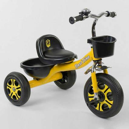 "Велосипед 3-х колёсный LM-9033 ""Best Trike"" (1) ЖЕЛТЫЙ, пено колесо, метал. рама, звоночек, 2 корзины,"