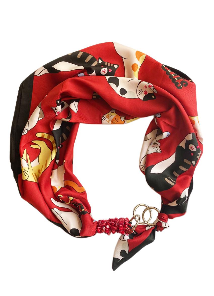 """Дизайнерский платок """"стильные коты """", от my scarf, шейный платок, подарок женщине"""