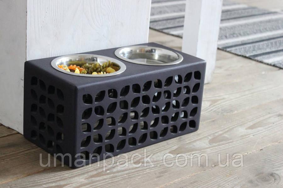 КІТ-ПЕС by smartwood Мискa на подставке | Миска-кормушка металлическая для собак щенков S - 2 миски 450 мл