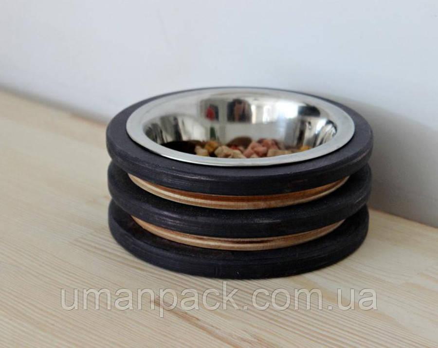 КІТ-ПЕС by smartwood Миска на підставці | Миска-годівниця металева для кішок котів кошенят - 1 миска 200 мл