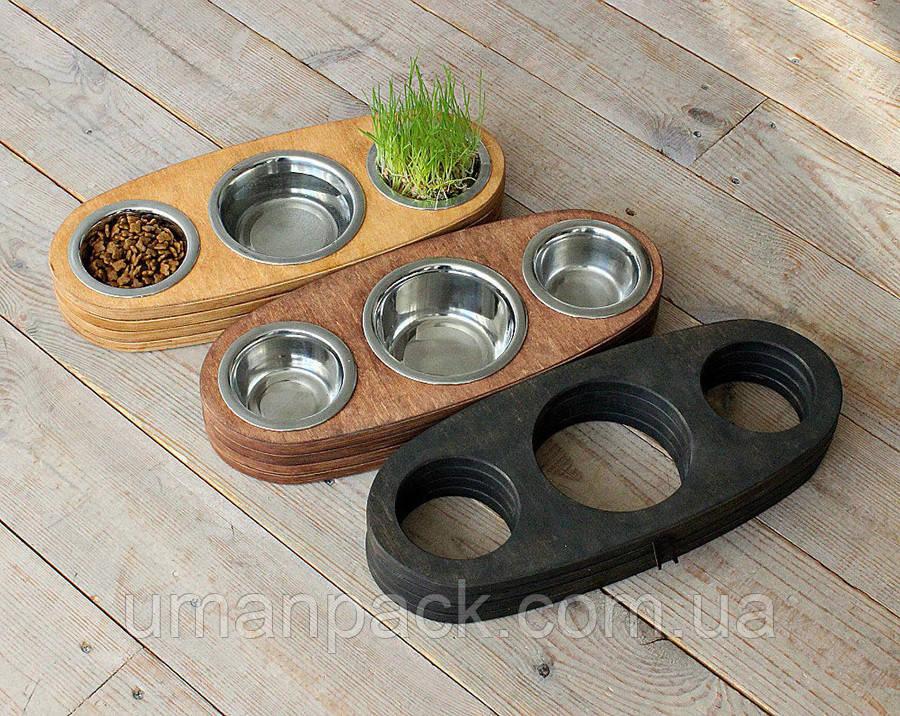 КІТ-ПЕС by smartwood Миски на підставці | Миска-годівниця металева для цуценят собак XS - 3 миски