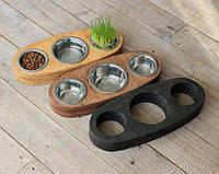 КІТ-ПЕС by smartwood Миски на підставці | Миска-годівниця металева для цуценят собак XS - 3 миски, фото 1