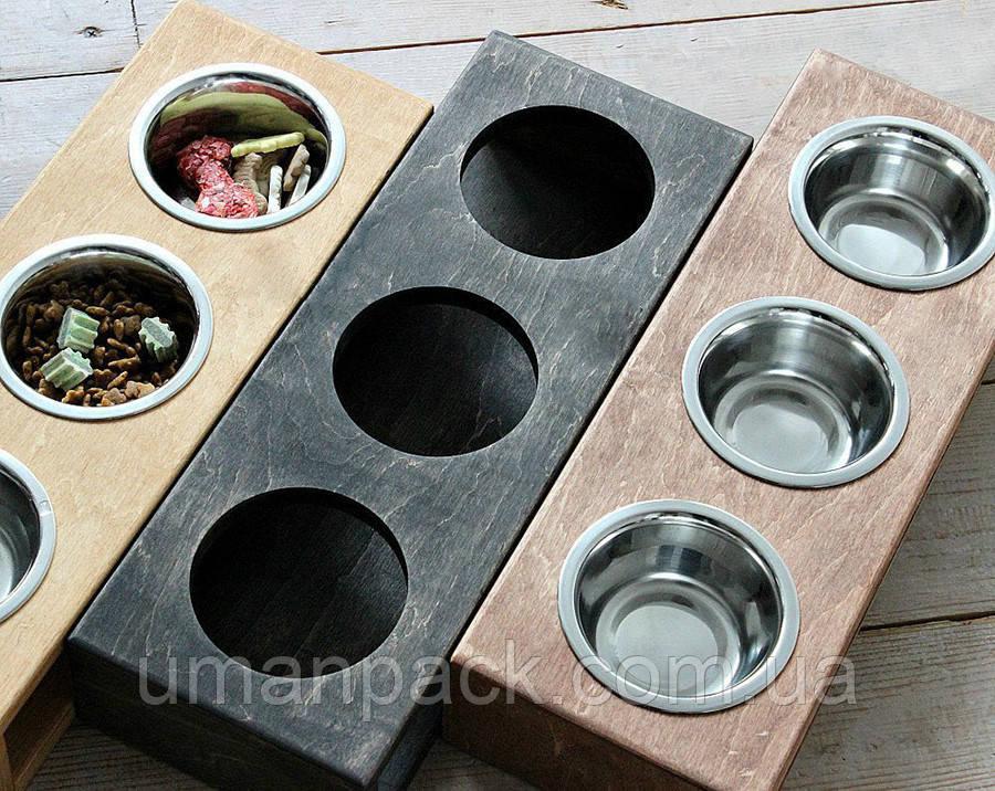 КІТ-ПЕС by smartwood Миска на підставці | Миска-годівниця металева для кішок котів кошенят - 3 миски 200 мл