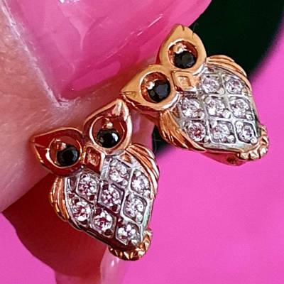 Золоті сережки Сови - Золоті сережки Совушки для дівчинки