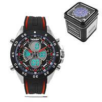 Годинники наручні QUAMER 1103, Box, двухцветн. ремінець каучук, dual time, waterproof