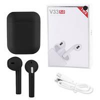 Бездротові bluetooth-навушники V33 5.0 з кейсом, black