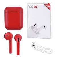 Бездротові bluetooth-навушники V33 5.0 з кейсом, red