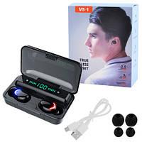 Бездротові bluetooth-навушники F9 V5.1 з індикацією, black