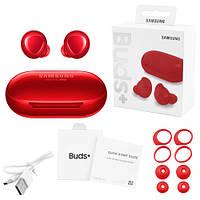 Беспроводные bluetooth-наушники Samsung Galaxy Buds+ с кейсом, red