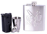 Подарунковий набір з флягою для чоловіків (Фляга/4 стопки/лійка) №QK-16-3