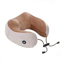 Массажная подушка 2 в 1 для шеи с эффектом памяти и вибрацией U-Shaped Massage Pillow дорожная для путешествий
