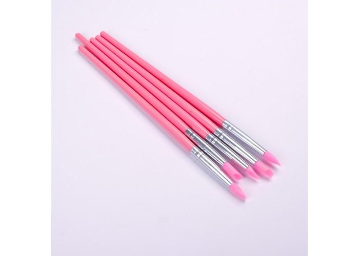 Набор силиконовых кистей для лепки/втирки 5шт (розовые) Master Professional